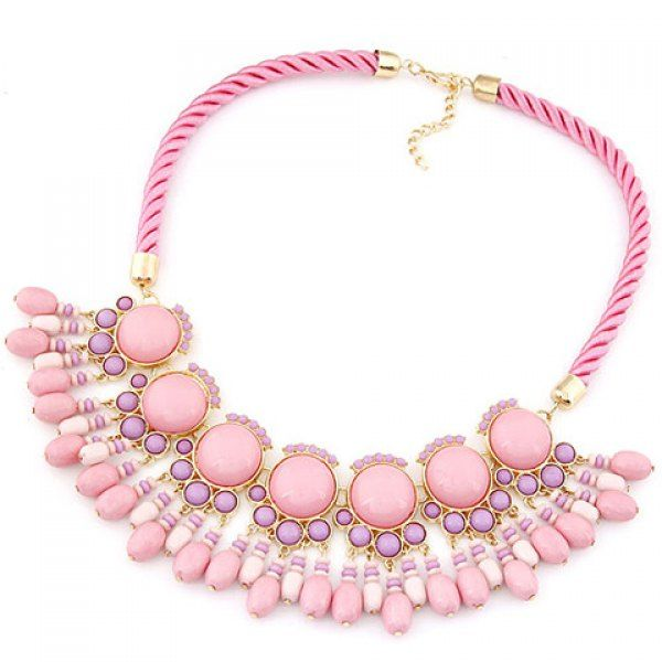 Wholesale Fresh Beads Pendant Camber Necklace For Women (PINK), Necklaces - Rosewholesale.com
