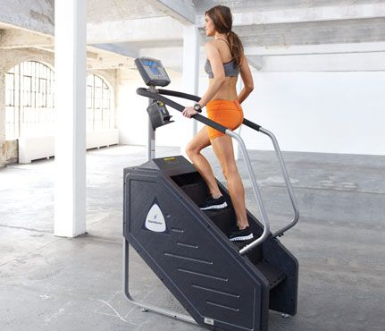 30 Workouts / 30 Minutes: Unlike the elliptical, where it's easy to slack off (and you zap three fewer calories a minute), the revolving staircase forces you to keep moving. Practice good form: Lightly grip handlebars, and stand tall. #SelfMagazine