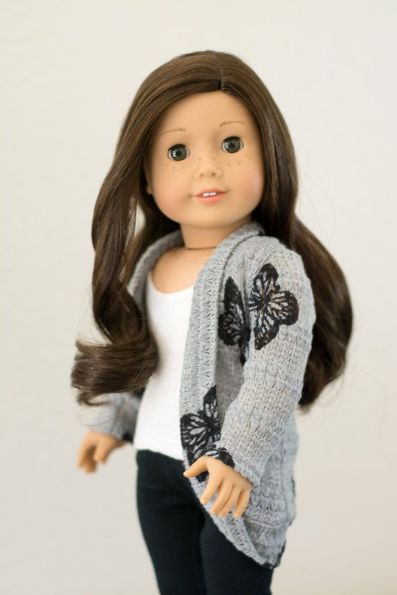 Gray butterfly cardigan by RoyalDollBoutique on Etsy. Made with the Trendy Slouch Cardigan pattern. Get it at http://www.pixiefaire.com/products/trendy-slouch-cardigan-18-doll-clothes.  #pixiefaire #trendyslouchcardigan