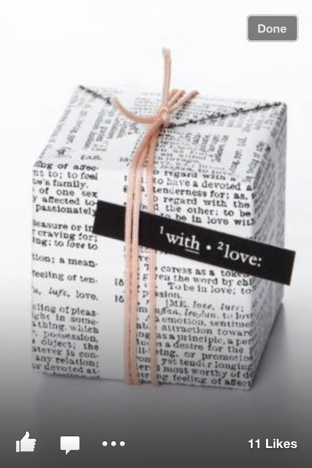 We are obsessed with this book page gift wrap!