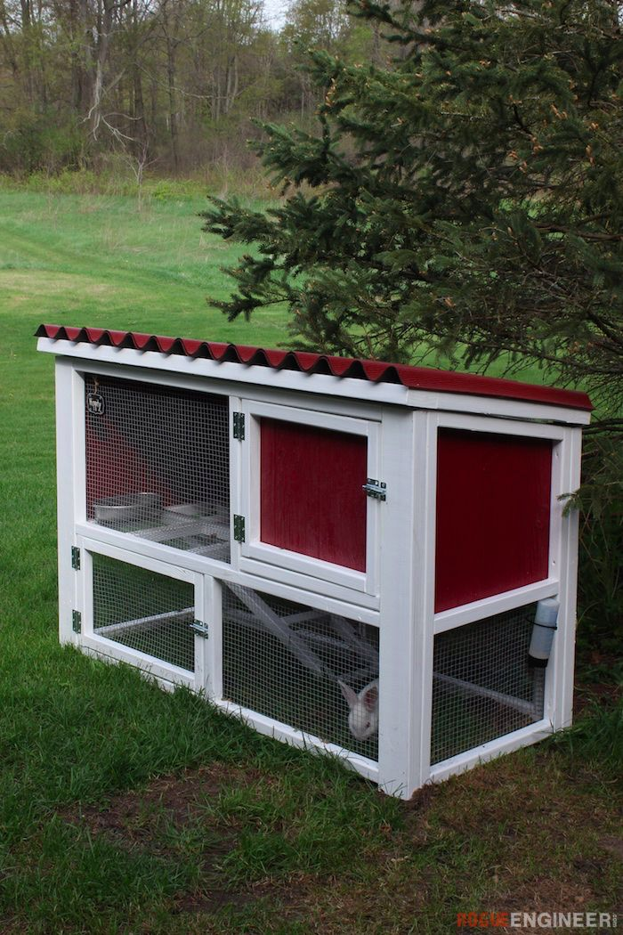 DIY Rabbit Hutch Plans - Free Plans | rogueengineer.com #RabbitHutch #OutdoorDIYplans