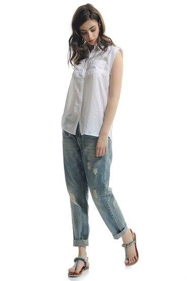 Bayan Mavi Yırtık Detaylı Boyfrıend Denım Pantolon