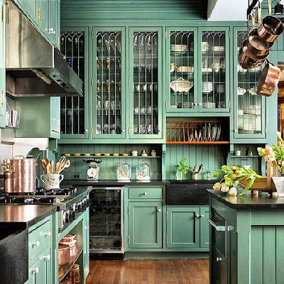Traditional Green Kitchen. love the cupboards. even in this green