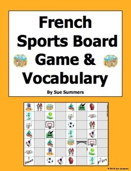 French Sports Board Game and Vocabulary by Sue Summers - 32 square board game with 13 different sports images.