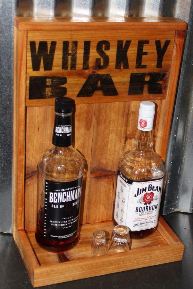 Whiskey Bar Display 3 bottles wide Bar Back Man Cave Includes Shipping Handmade  #Handmade