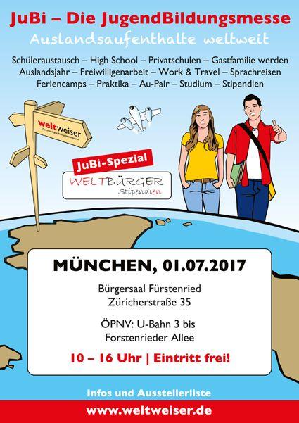JuBi München am 1.7.2017 #JugendBildungsmesse #Schüleraustausch #Ausland #reisen #Gapyear #Highschool #USA #Kanada #Australien #Neuseeland