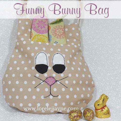 Today i want to introduce the Funny Bunny Bag! Create something really cute as a thank you for all my readers! This is such an adorable little bag, and the perfect bag for kids or adults learning to sew! It's a great little bag just in time for easter and it will fit a lot of chocolate eggs into it! The Funny Bunny bag is an easy introduction to free motion stitching or if your not confident try some felt and hand stitch! // The pattern has 2 Ear