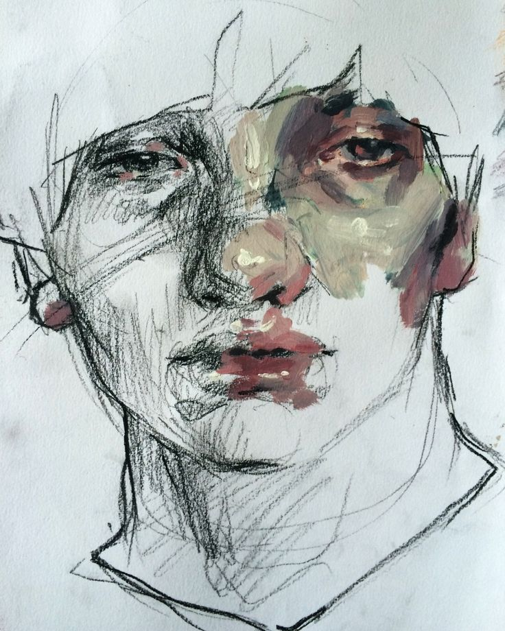 Acrylic and charcoal portrait