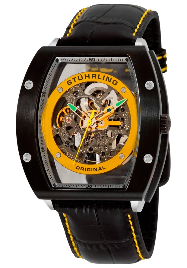 Stuhrling Original 206A.332D518, Take your style to new heights with the Neo-Zeppelin from Stuhrling Original. Skeletonized dial and exhibition back reveal the intricate symphony of moving rotors, gears, and springs which power the automatic timepiece. A true masterpiece.