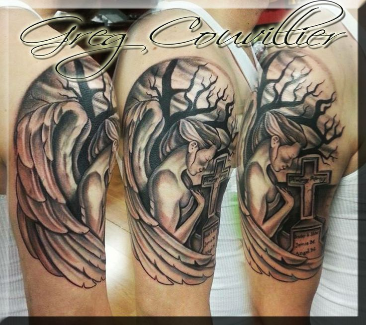 Tattoos Memorial Crying Over Tombstone Angel