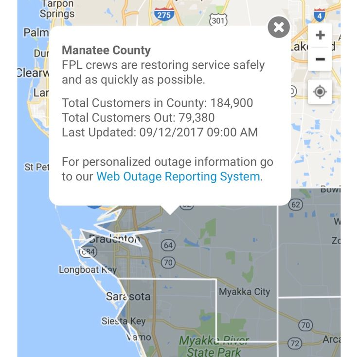 Check out this notification from the FPL on current power outages in Manatee county. We hope the power is restored soon! #HurricaneIrma