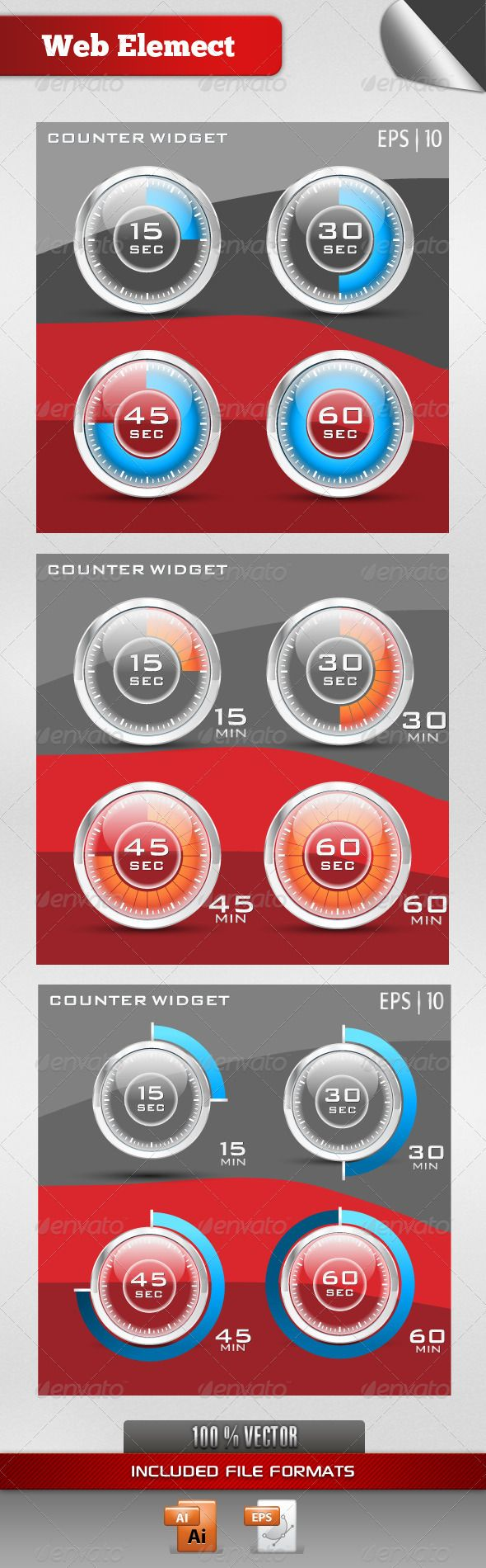 Counter Widget by vectorworks Three sets of Glossy Transparent seconds and minute counter widget