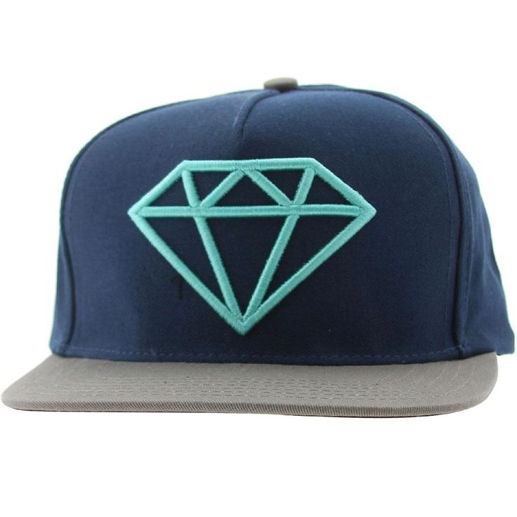 Diamond Supply Co Company Rock Logo Snapback Cap (navy / diamond blue / grey) ROCKLOGONADB - $39.99