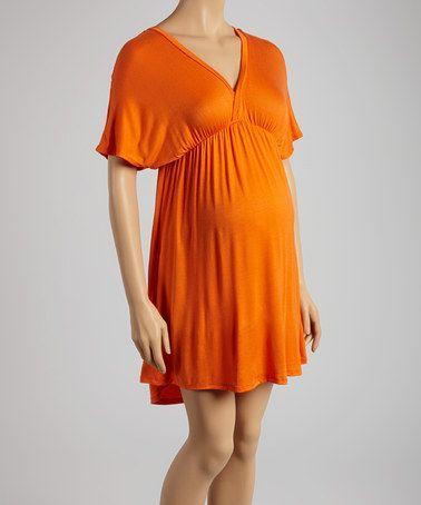 Look at this #zulilyfind! Orange Maternity Cape-Sleeve Dress #zulilyfinds
