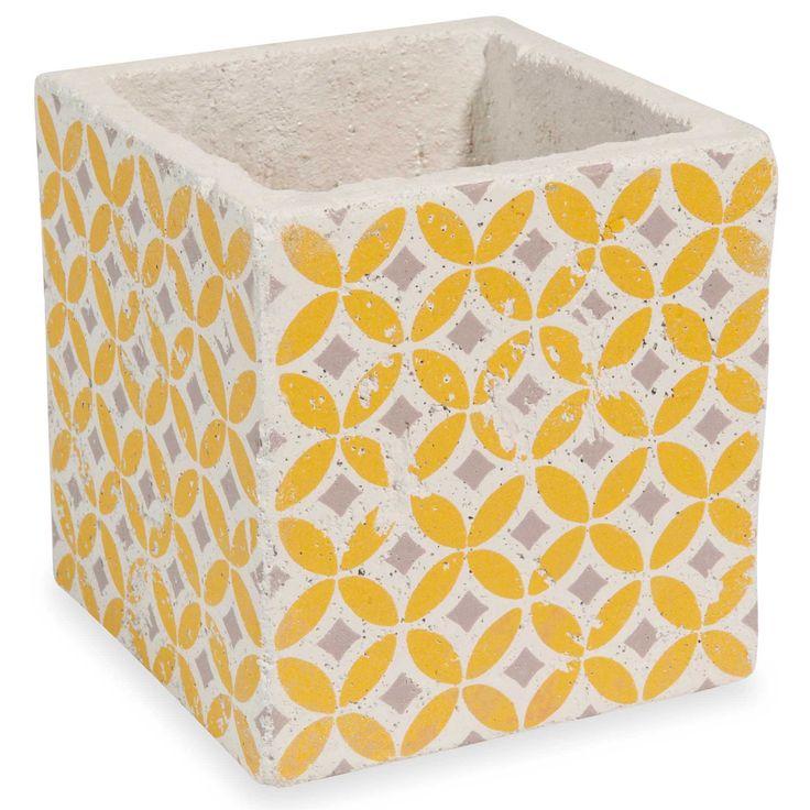 Cache-pot en ciment jaune H 14 cm SEVENTIES