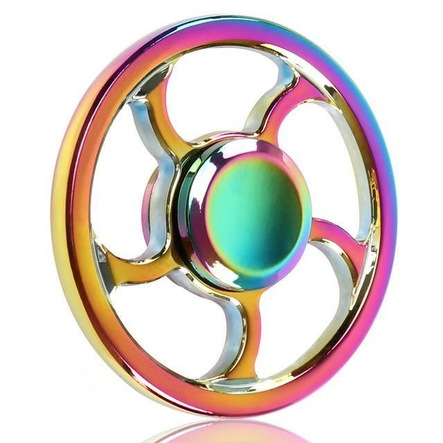 Fidget Tri Spinner Hand Metal Spinner Gold EDC Top Fidget Toy Sensory Rainbow for Autism ADHD