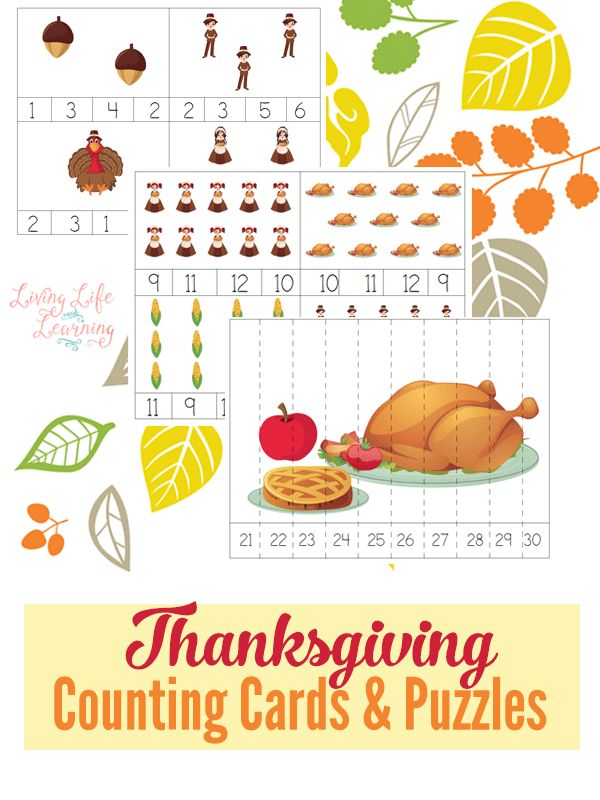 Thanksgiving Counting Cards and Puzzles | Homeschool ...