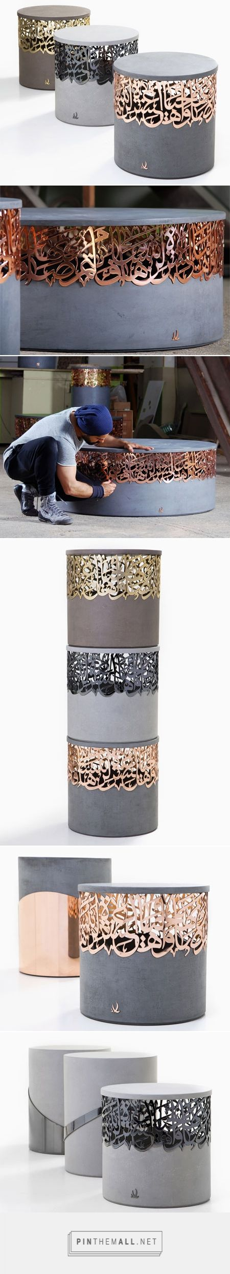 Metal and concrete stools that integrate Arabic calligraphy - created via…