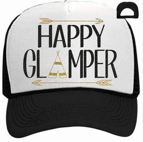 """Be the queen of the campground with our """"Happy Glamper"""" trucker hat with black and gold glitter arrows and teepee."""