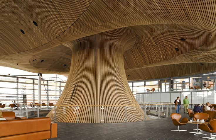Public area within the Senedd of the Welsh Assembly building, Cardiff Bay, Cardiff, South Wales - by Gary Were