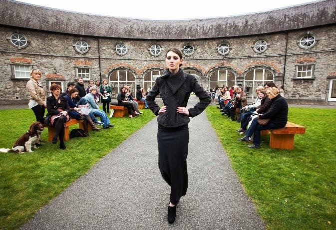 Fitted grey mohair jacket worn with long grey wool bias cut skirt designed by Sinead Doyle @ Block Party
