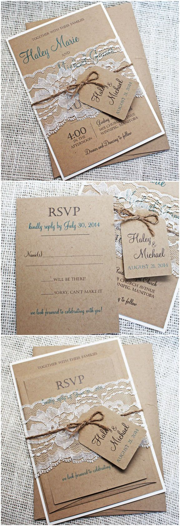 rustic lace and burlap wedding invitation suites