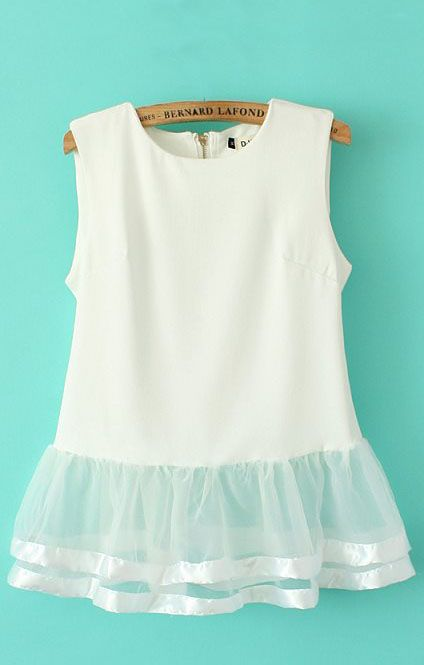 White Mesh Splicing Chiffon Vest $22