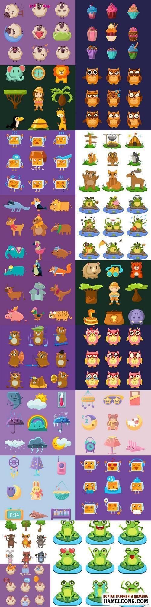 В векторе подборка забавных иконок: животные, кексы, погода, детский сон, путешествия | Funny Character Set