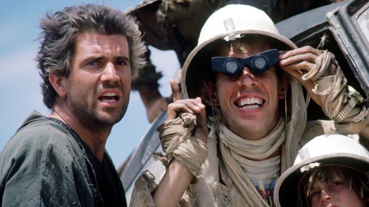 Mel Gibson as Max Rockatansky with Bruce Spence as Jedediah the Pilot & Adam Cockburn as Jedediah Jr in #MadMax Beyond Thunderdome (1985).