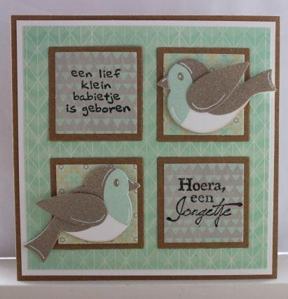 Gemaakt door Joke # babykaart peach and mint, met vogeltjes #hoera een jongetje