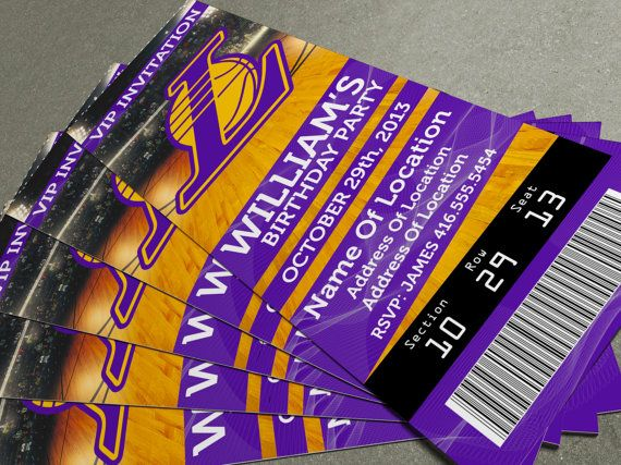 "LA Lakers Birthday Party/Event Ticket Invitation (2.5"" x 7 ..."