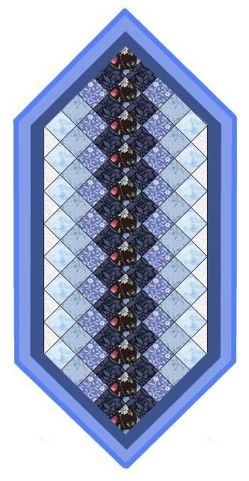 I've Got the Blues Table Runner pattern, $5; so far this the best-selling pattern from my shop. Detailed PDF of instructions.