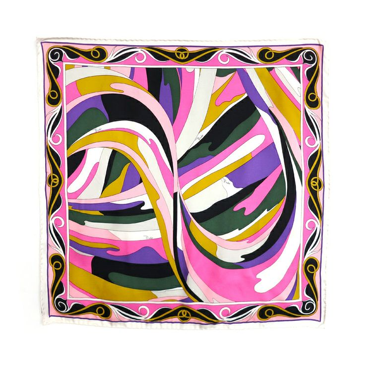 EMILIO PUCCI Abstract geometric swirl silk scarf | From a collection of rare vintage scarves at http://www.1stdibs.com/fashion/accessories/scarves/