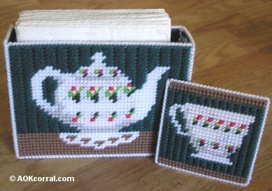 Plastic Canvas Coaster Patterns - Coasters and Matching Holder in Plastic Canvas
