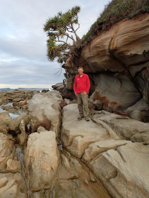 Getting up close & personal with the rockface on a coastal walk with the Kyeewa Bushwalkers. www.nambuccatourism.com.au