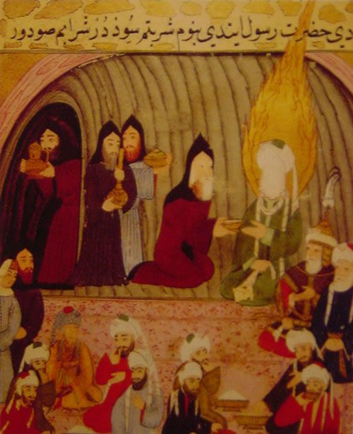 Muhammad meets the Christian monk, Bahira, on his journeys to Syria
