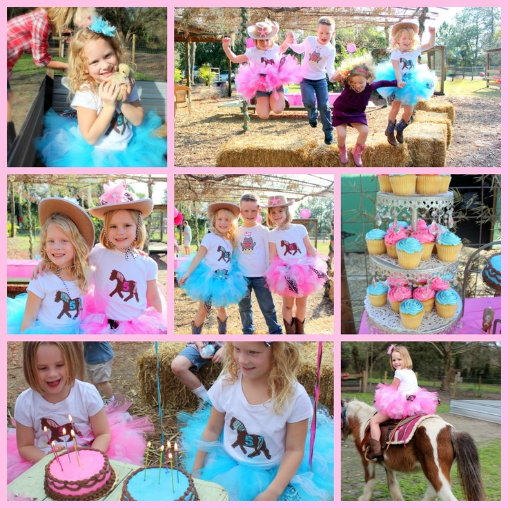Love how the pink & blue colored tutus popped at my twins cowgirl themed birthday party! Who says blue is only for boys?! :)  outfits bought from: Simply Tutu on etsy