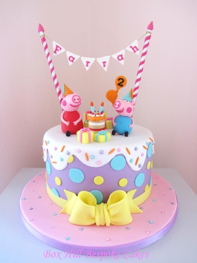 Peppa George Sind Bereit Zu Feiern Von Noreen Box Hill Massgeschneiderte Kuchen Peppa Schwein Kuchen Geburtstagskuchen Kinder Schweinekuchen