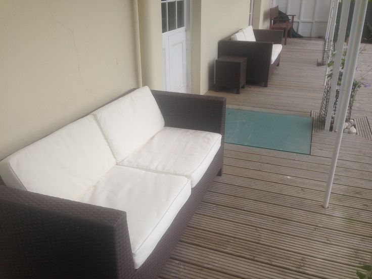 Lovely Clean White Cushions on Rattan Furniture cleaned by Laura... no more mould & mildew