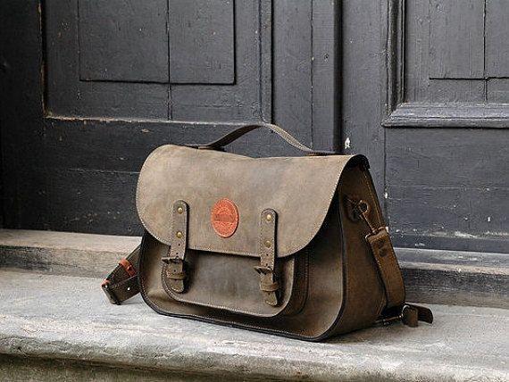 leather messenger backpack office bag Ladybuq khaki