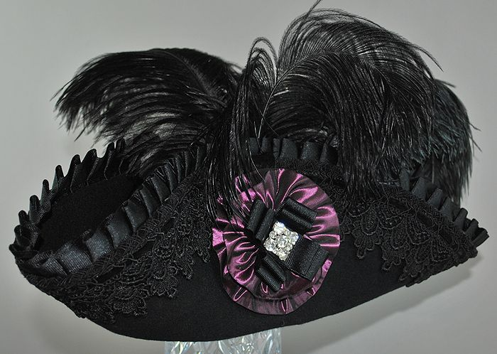 pattern for a ladies pirate hat   Wool cocked hat trimmed with grosgrain, velvet, lace, ostrich feathers ...