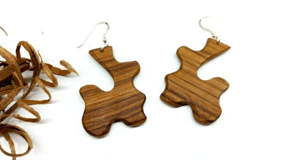 Hand cut OOAK Wood Dangle Earrings. Hippie Wood Earrings OOAK Wood Earrings Boho by TheWoodArtShop