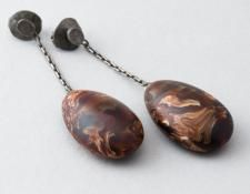 QUOIL Gallery, New Zealand - Jen Laracy - Brown swirly drop earring - plastic and sterling silver