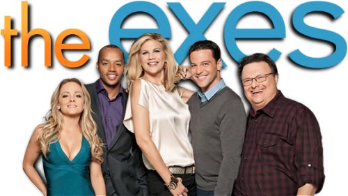 the exes | The Exes tv show image with logo and character