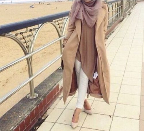 neutral hijab outfit- Trendy and chic hijab looks http://www.justtrendygirls.com/trendy-and-chic-hijab-looks/                                                                                                                                                                                 More