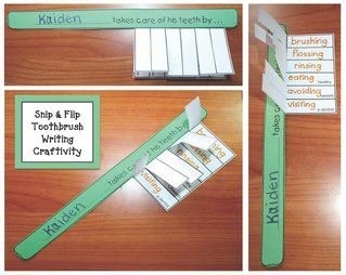 """Teeth-Dental Hygiene activities: FREE Snip & Flip writing prompt toothbrush craftivity.  Includes a traceable template, as well as a blank """"bristle box"""" for students to write their own thoughts."""
