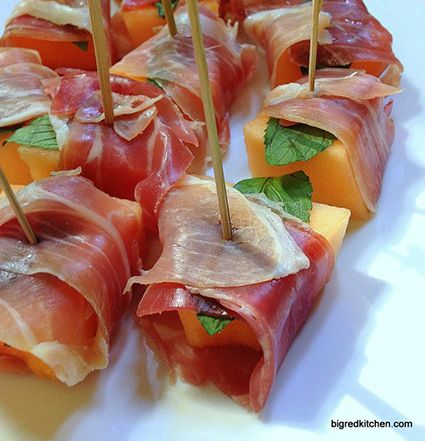 Prosciutto-wrapped cantaloupe | HellaWella #holidayfood #appetizers #partyfood