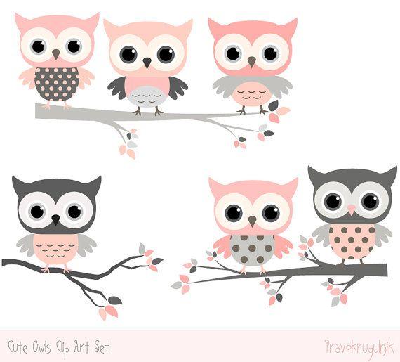 Imágenes Prediseñadas de ducha buho, buho lindo kawaii Prediseñadas, gris Digital y color de rosa de bebé vivero buho decoraciones, bebé niña clipart png, rama de árbol