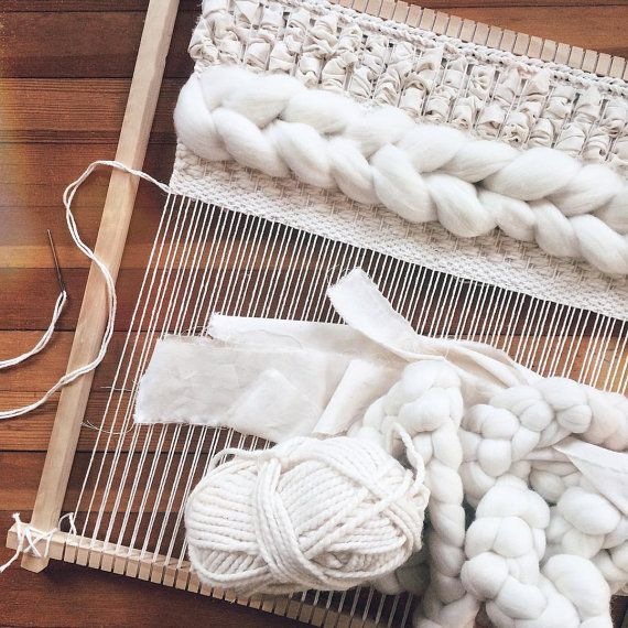 Woven Wall Hanging Ivory and Gray by UnrulyEdges on Etsy