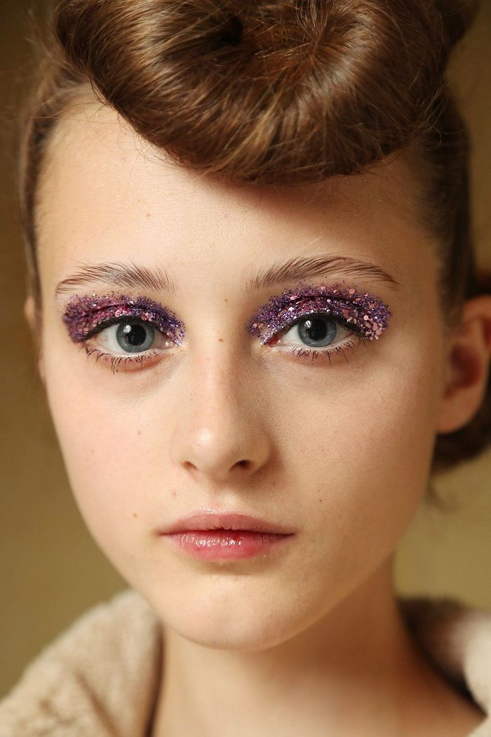 Best of Beauty From SS 2018 PWF glitter eye makeup